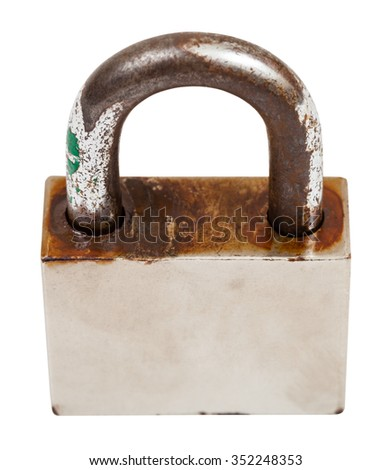 above view closed steel old padlock isolated on white background