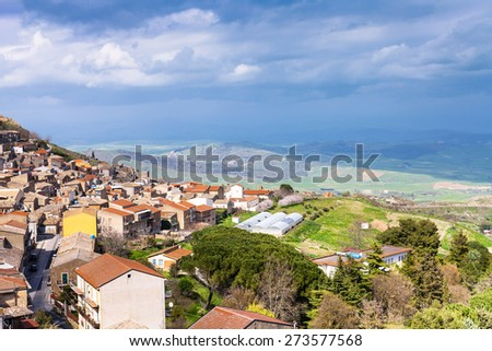 above view of Aidone comune in Sicily in spring, Italy - stock photo