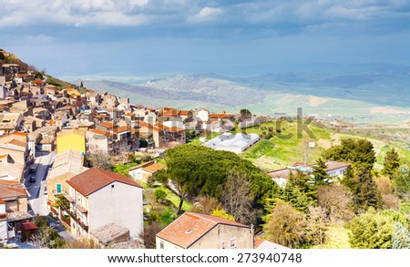 above view of Aidone town in Sicily in spring, Italy - stock photo