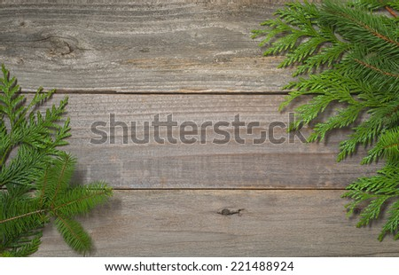 Above View of Christmas Greens on Old Rustic Barn Wood Boards with Room or Space for copy, text, your words.  Horizontal - stock photo