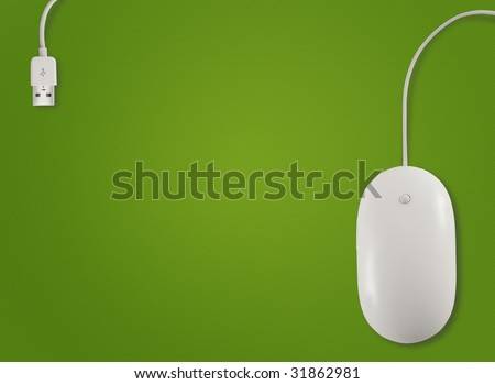 Above view of computer mouse with on green background