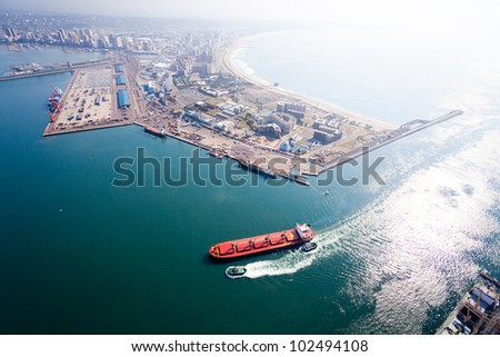above view of durban, south africa - stock photo