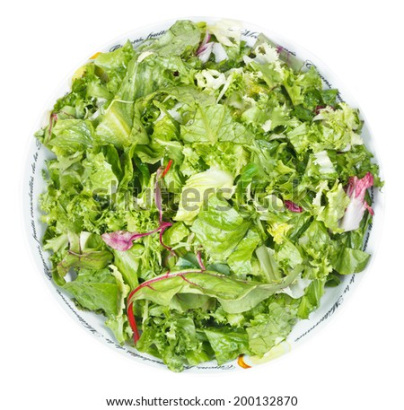 above view of fresh italian lettuce mix in bowl isolated on white background - stock photo