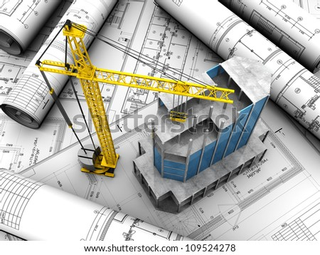 Above view of new modern building with crane placed engineering project - stock photo