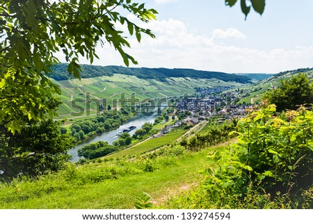 above view of town Zell in Moselle valley and Mosel river in summer day, Germany - stock photo