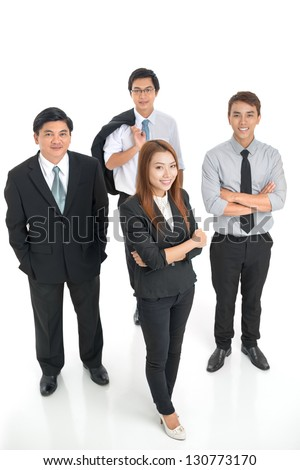 Above view on business team isolated on white background