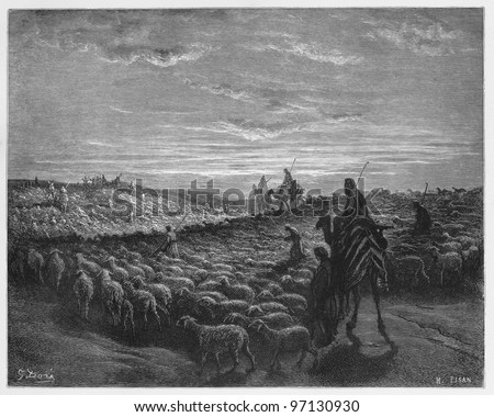 Abraham Journeying into the Land of Canaan - Picture from The Holy Scriptures, Old and New Testaments books collection published in 1885, Stuttgart-Germany. Drawings by Gustave Dore. - stock photo