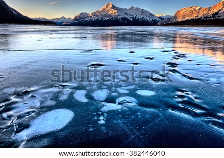 Abraham Lake Winter Ice formations bubbles design - stock photo