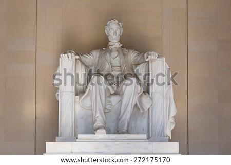 Abraham Lincoln Memorial building Washington DC US USA - stock photo