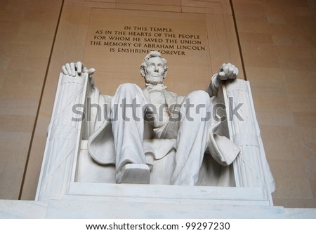 Abraham Lincoln Memorial Sculpture in Washington DC ,USA - stock photo