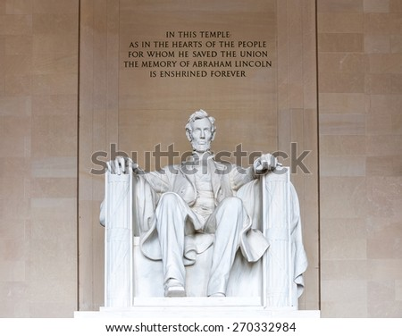 Abraham Lincoln monument in Washington, DC  - stock photo