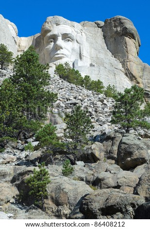 Abraham Lincoln on Mount Rushmore - stock photo