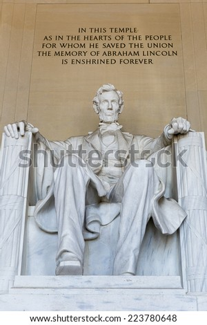 Abraham Lincoln Statue at Lincoln Memorial - Washington DC, United States. - stock photo