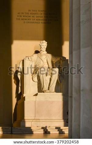 Abraham Lincoln Statue at Lincoln Memorial - Washington DC, United States  - stock photo