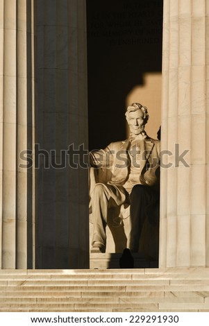 Abraham Lincoln Statue detail at Lincoln Memorial - Washington DC, United States  - stock photo