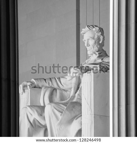 Abraham Lincoln Statue in Lincoln Memorial - Washington DC, United States - stock photo