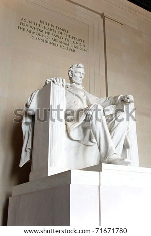 Abraham Lincoln statue in the Lincoln Memorial in Washington DC. - stock photo