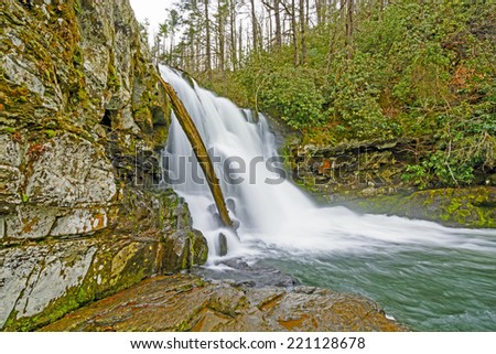 Abrams Falls in the Smoky Mountains on a Cloudy Day - stock photo