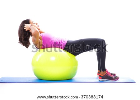 Abs with a fitness ball - stock photo