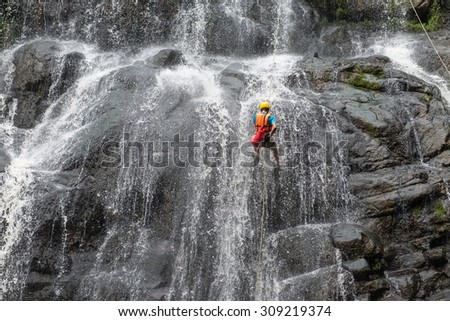 Abseiling at Wangtum waterfall, Petchabun, Thailand
