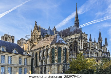 Abside of Notre-Dame de Reims cathedral (Our Lady of Reims, 1275), Reims, Champagne-ardenne, France. It is seat of Archdiocese of Reims, where the kings of France were crowned. - stock photo