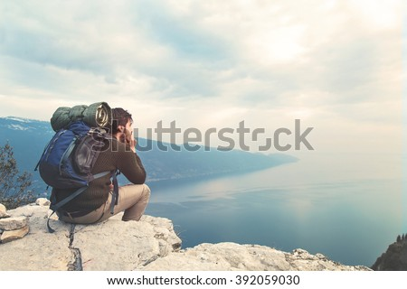 absorbed boy traveling alone