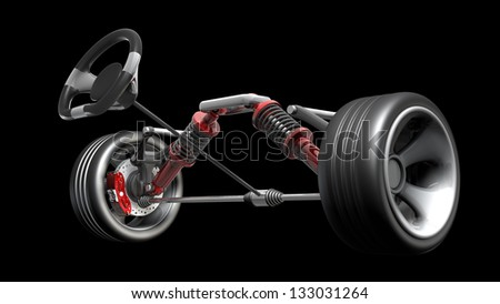 absorber, brake pads and Wheels Isolated on black background. High resolution 3d render - stock photo