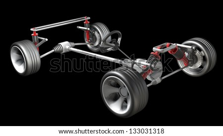 absorber, brake pads and Wheels isolated on black background High resolution 3d render - stock photo