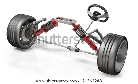 absorber,  brake pads and Wheels Isolated on white background. High resolution 3d render - stock photo