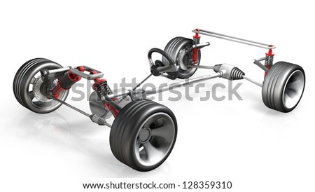 absorber, brake pads and Wheels  isolated on white background High resolution 3d render - stock photo