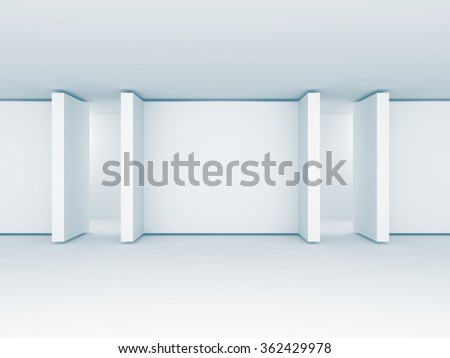 Absract Blank gallery Screens Banners. Architecture Interior Bakcground. 3d Render Illustration - stock photo