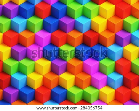 Abstact colorful cubes - 3D geometric background - stock photo
