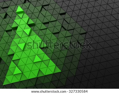 Abstact 3d illustration of christmas tree backdrop - stock photo