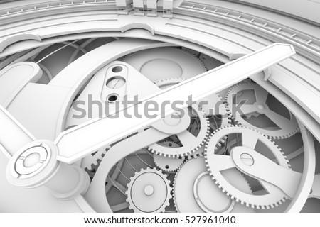 Abstaract 3d rendering illustration of watches with gears. Ambient occlustion pass. Shadow detail pass.