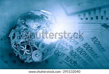 Abstarct image with financial business theme and concepts. Elements of this image are furnished by NASA