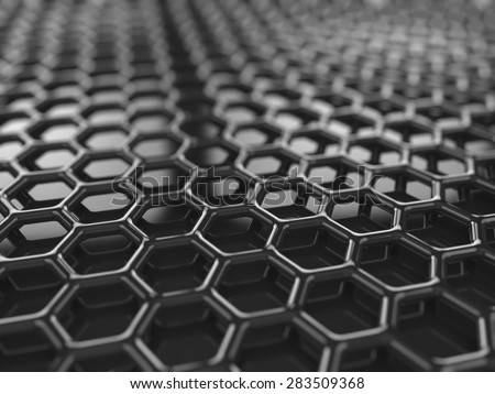 Abstracct black hexagonal carbon background - stock photo