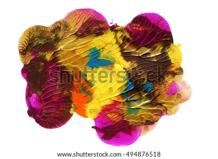 Abstract acrylic design element, bright colors, hand painted