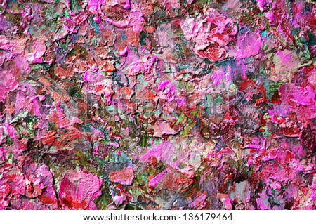 abstract acrylic gouache red color hand painted background. uneven rough surface backdrop. - stock photo
