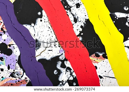 Abstract acrylic modern painting fragment. Colorful rainbow Splashes and stripes texture. Contemporary art. Spray paint.