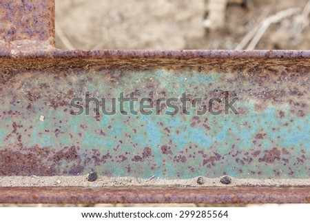 Abstract Aged Vintage Iron Beam Background. - stock photo