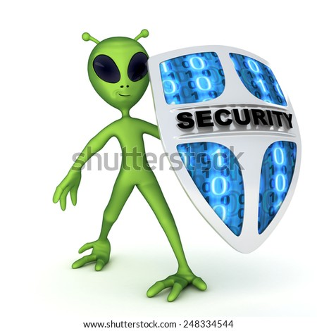Abstract alien and shield (done in 3d)  - stock photo