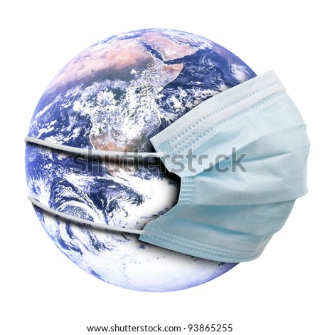 Abstract allegory concept with earth and medicine flu mask.  Isolated on white background. - stock photo