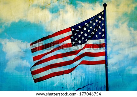 Abstract American flag waving on flagpole - stock photo