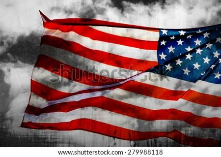 Abstract American flag waving on flagpole - stock photo