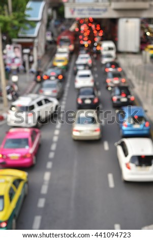 Abstract and Blur of car Traffic in Bangkok