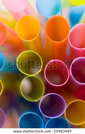 Abstract and colorful drinking straws