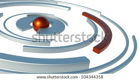 abstract and conceptual world and orbits with different meanings in three dimensions with a white background