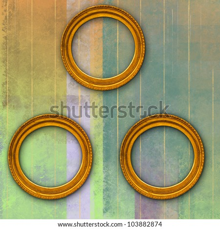 abstract and geometric background with three antique circular golden frames - stock photo