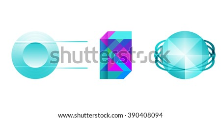 Abstract and globe logos.Colorful and spherical symbols set with place for text isolated on white background - stock photo