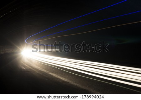 Abstract and interesting art concentration of light in a road tunnel
